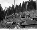 Clemons Logging Company railroad logging camp 5, near Melbourne, ca. 1930