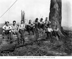 Loggers in the woods, camp 2, Clemons Logging Company, ca. 1930