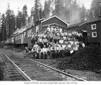Loggers and mess hall crew at railroad logging camp, Clemons Logging Company, near Melbourne, ca....