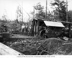 Crew and donkey engine made by Clyde Manufacturing Company, camp 5, Clemons Logging Company, near...
