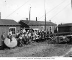 Loggers and mess hall crew, camp 2, Clemons Logging Company, near Melbourne, ca. 1930