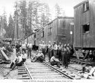 Loggers at railroad logging camp, Clemons Logging Company, near Melbourne, ca. 1930