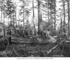 Loggers in the woods, Goodyear Logging Company, near Clallam Bay, ca. 1920