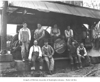 Logging crew and Willamette donkey engine, Lewis Mills and Timber Company, Fern Creek Camp, ca....
