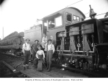 Crew with two-truck Shay engine number 3 and log train, Cathlamet Timber Company, n.d.