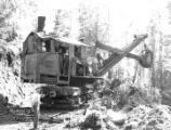 Industrial steam shovel at work in the woods, Big Creek Logging Company, Knappa, ca. 1918