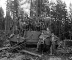 Crew and donkey engine, Buehner Lumber Company, Eel Lake, ca. 1921