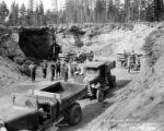 Anthony dump trucks belonging to G.I. Stebbins, contractor, Chiloquin Lumber Company, Chiloquin,...
