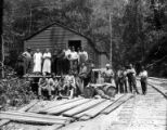 Crew at camp, Brookings Timber and Lumber Company, Brookings, ca. 1919
