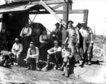 Crew with donkey engine, Clark & Wilson Lumber Company, Oregon, ca. 1927