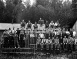 Crew posing by camp office, Columbia River Timber Company, Skamokawa, ca. 1918