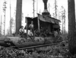 Crew with donkey engine on moving car, Connacher Lumber Company, Vernonia, ca. 1933
