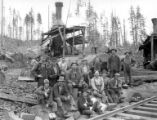 Crew posed with two donkey engines, Connacher Lumber Company, Vernonia, ca. 1933