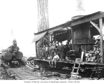 Logging crew and donkey engine beside railroad track, Elbe Lumber and Shingle Company, n.d.