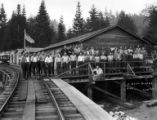 Crew at railroad camp #3, Coos Bay Lumber Company, Coos County, ca. 1930s