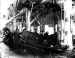 Machine shop and crew, Coos Bay Lumber Company, Powers, ca. 1930s