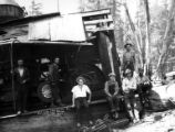 Crew with Willamette donkey engine, Eastside Logging Company, Keasey, ca. 1925