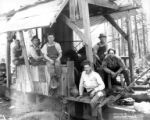 Crew and donkey engine, Flora Logging Company, Carlton, ca. 1931