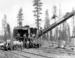 American Locomotive Company crane and crew, Crater Lake Lumber Company, Medford, ca. 1910-1937