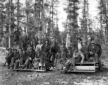 Crew members on speeder, Crater Lake Lumber Company, Medford, ca. 1910-1937