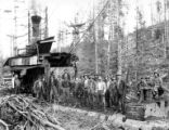Crew members with donkey engine, Elwood Logging Company, Oregon, ca. 1918-1940