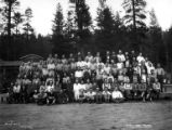 Crew with children at camp, Forest Lumber Company, Pine Ridge, ca. 1925