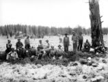 Logging crew eating lunch, Fruits Growers Supply Company, Klamath Falls, ca. 1930