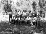 Logging crew posing in woods, Fruits Growers Supply Company, California, ca. 1930