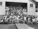 Children in front of school, Fruits Growers Supply Company, Hilt, ca. 1930