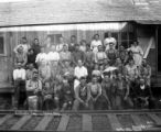 Crew with women and children at J. K. Gamble Camp, Nehalem valley, ca. 1915-1945