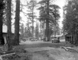 Logging camp and cars, George Scott Lumber Company, Susanville, ca. 1922