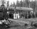 Crew at camp, possibly Granite Falls Logging Company, ca. 1915-1945