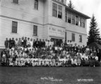 Children and teachers outside of the public school class, Hammond Lumber Company, Mill City, ca....