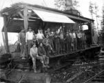 Crew with donkey engine, Johnson and Carr Lumber Company, ca. 1914-1945