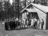 School children and teachers in front of schoolhouse, Lamm Lumber Company, Klamath County, ca....