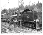 Loggers on flatbed railroad car, and crew of Clear Lake Lumber Company Climax locomotive no. 6,...