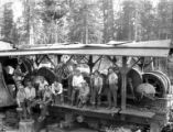 Crew with donkey engine, Long Bell Lumber Company, Ryderwood, ca. 1929