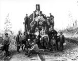 Crew on front of locomotive #805, Long Bell Lumber Company, Ryderwood, ca. 1929