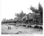Emery and Nelson, Inc. Heisler locomotive no. 1 and log train, with crew, ca. 1917