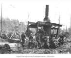 Logging crew and donkey engine, E.P. Neukirchen Company, n.d.