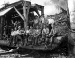 Crew and donkey engine, North Bend Timber Company, North Bend, ca. 1925