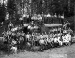 Crew at Camp 14 with women, Potlatch Forests Incorporated, Idaho, ca. 1935