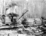 Elk River railroad crane  loading logs, Potlatch Forests Incorporated, Idaho, ca. 1935