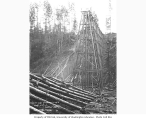 Ground level view of second Red Cabin Creek railroad bridge, Hamilton Logging Company, 1916