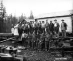 Crew at Camp 3 on railroad tracks, Smith Powers Logging Company, Powers, ca. 1922