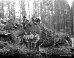 Yarding crew and large log, Smith Powers Logging Company, Powers, ca. 1922