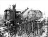 Locomotive crane being used in bridge construction, Smith Powers Logging Company, Powers, ca. 1922