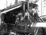 Gas donkey engine and crew, Sunset Timber Company, Washington, ca. 1920