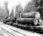 4-6-0 Lewis & Clark locomotive #154 with log car, Warren Spruce Company, ca. 1918