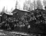 Crew at camp, Western Cooperage Company, Olney, ca. 1920